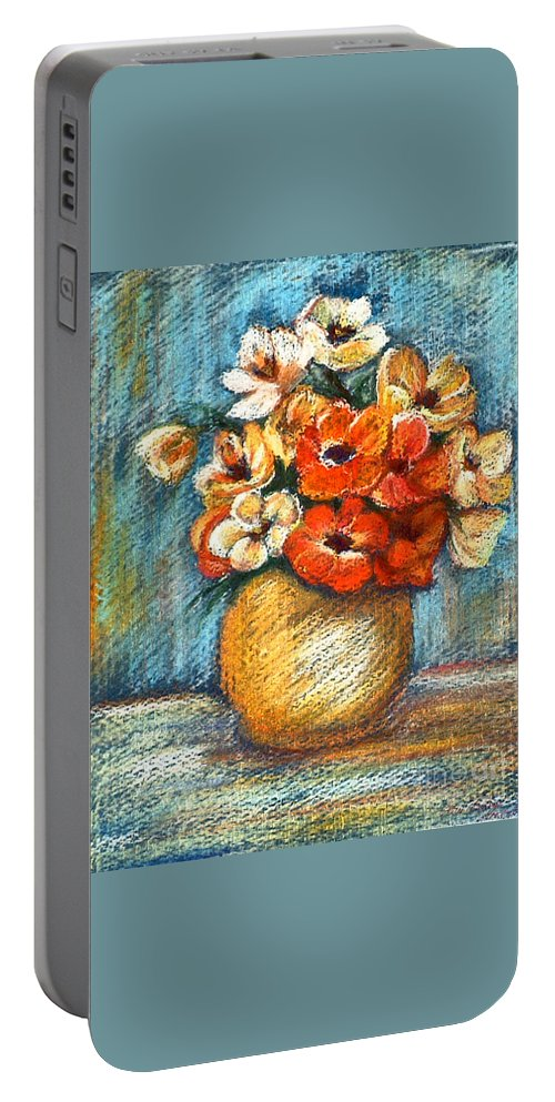 Stilllife Portable Battery Charger featuring the drawing Spring Bouquet by Portraits By NC