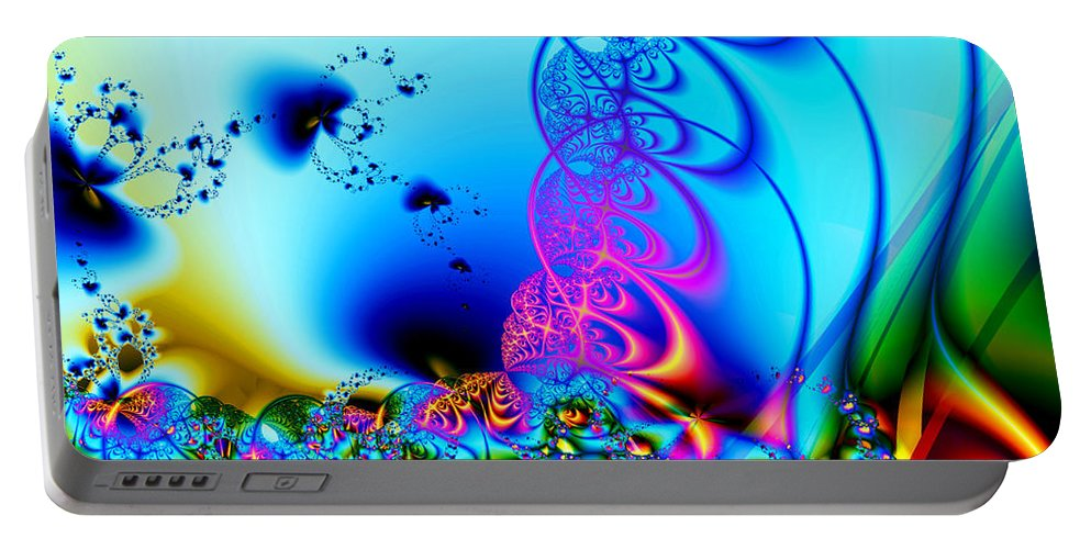 Fractal Portable Battery Charger featuring the digital art Spring Breezes by Claire Bull