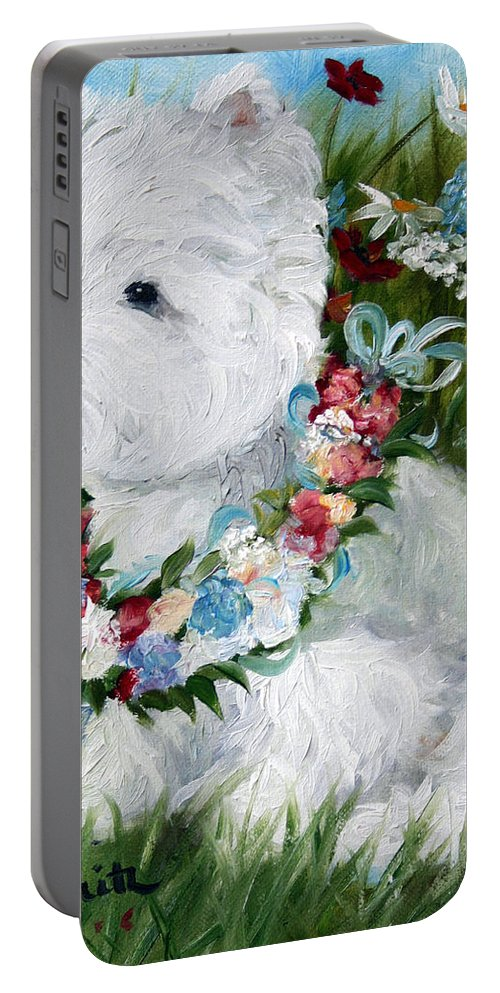 Art Portable Battery Charger featuring the painting Spring Breezes by Mary Sparrow