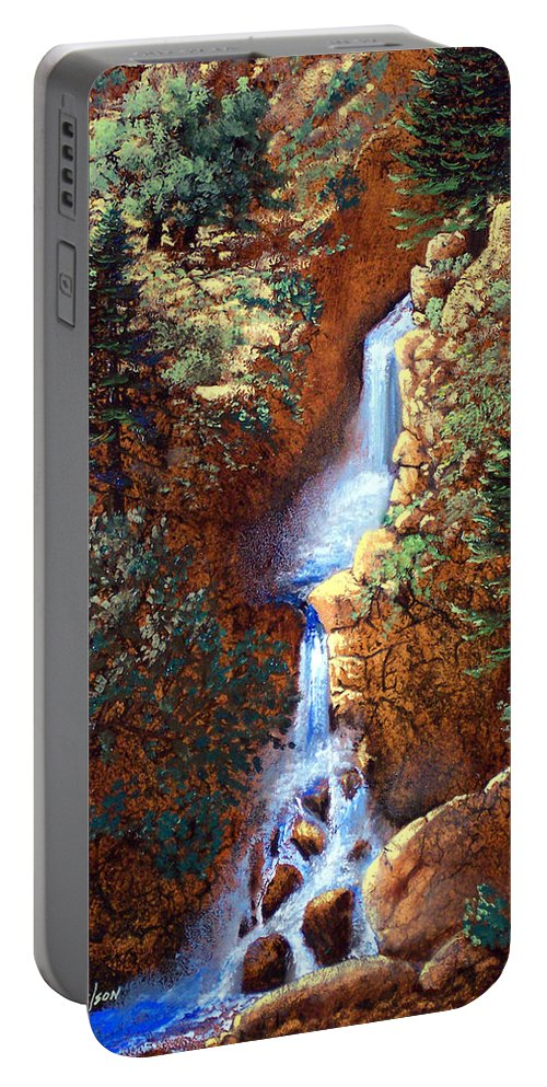 Wilderness Portable Battery Charger featuring the painting Spring Cascade by Frank Wilson