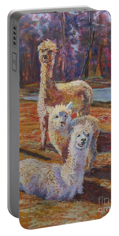 Alpaca Portable Battery Charger featuring the pastel Spring Celebration - Mothers And Child by Alicia Drakiotes