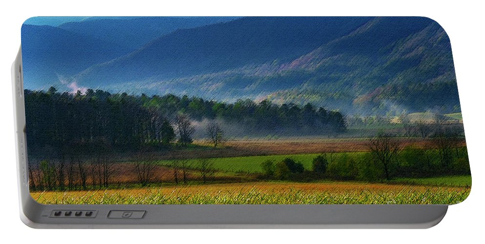 Cades Cove Portable Battery Charger featuring the photograph Spring Colors In Caves Cove by Bob Phillips