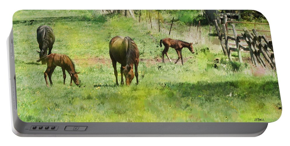 Spring Colts Portable Battery Charger featuring the digital art Spring Colts by John Beck