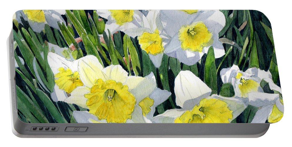 Daffodils Portable Battery Charger featuring the painting Spring- Daffodils by Swati Singh