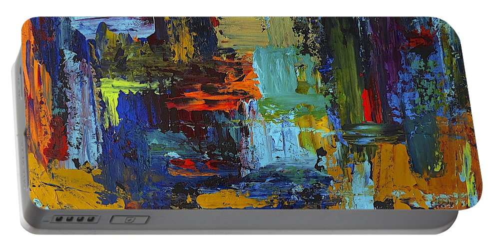Abstract Portable Battery Charger featuring the painting Spring Fever by Dick Bourgault