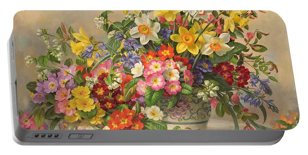 Primula; Daffodil; Primula; Narcissi; Spring Flowers; Flower; Flowers; Pool Pottery Portable Battery Charger featuring the painting Spring Flowers And Poole Pottery by Albert Williams