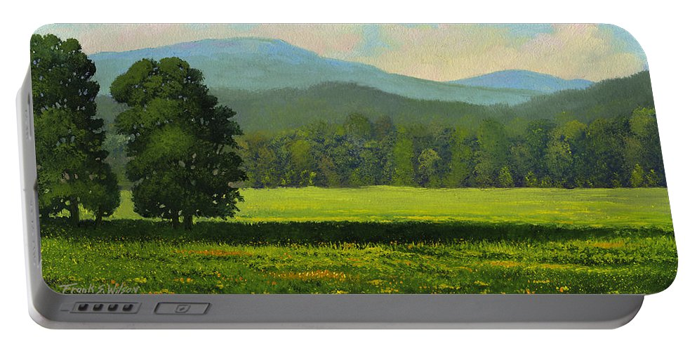 Landscape Portable Battery Charger featuring the painting Spring Flowers by Frank Wilson