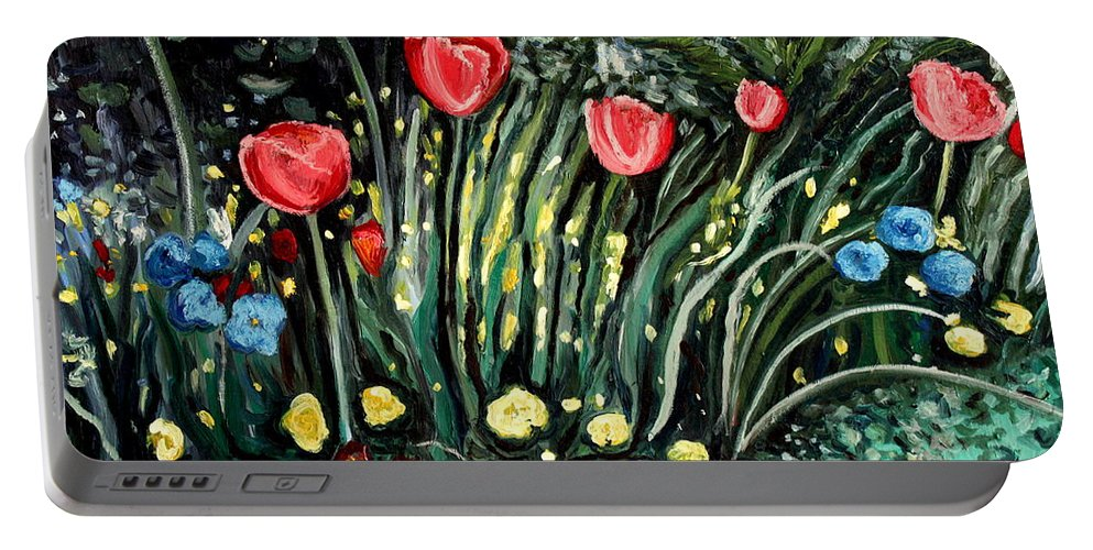 Impressionistic Portable Battery Charger featuring the painting Spring Garden by Elizabeth Robinette Tyndall