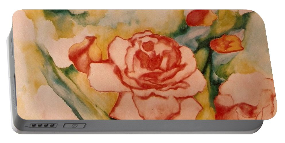 Blooms Artwork Portable Battery Charger featuring the painting Spring Garden by Jordana Sands