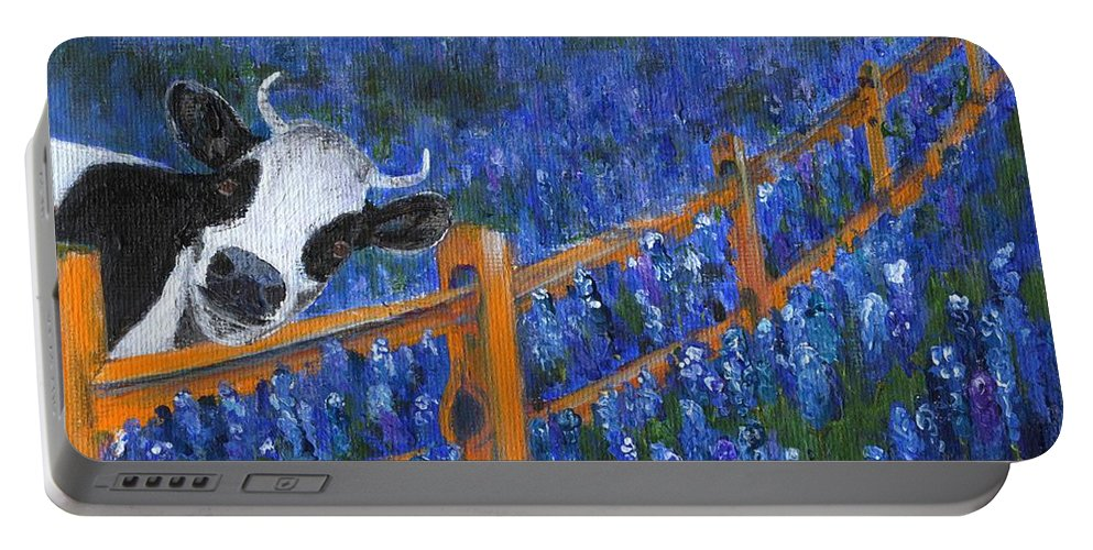 Bluebonnets Portable Battery Charger featuring the painting Spring Has Sprung by Jamie Frier