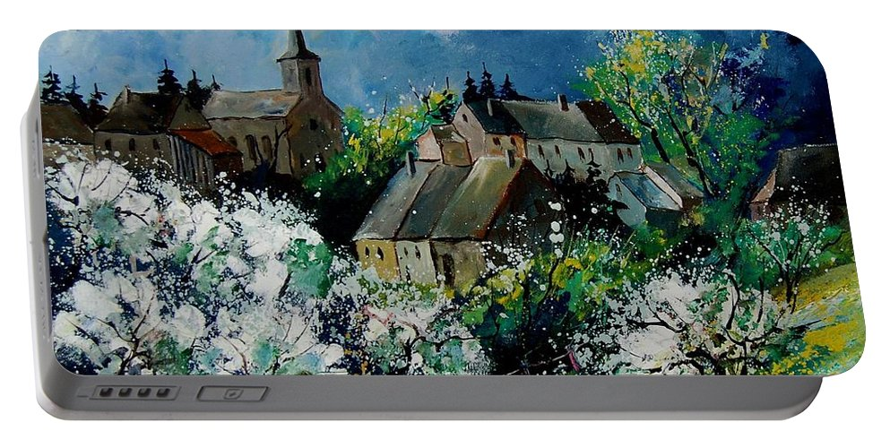 Spring Portable Battery Charger featuring the painting Spring In Fays Famenne by Pol Ledent