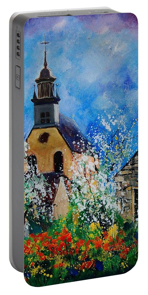 Spring Portable Battery Charger featuring the painting Spring In Foy Notre Dame Dinant by Pol Ledent
