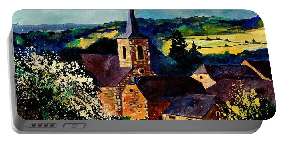 Spring Portable Battery Charger featuring the painting Spring In Gendron by Pol Ledent