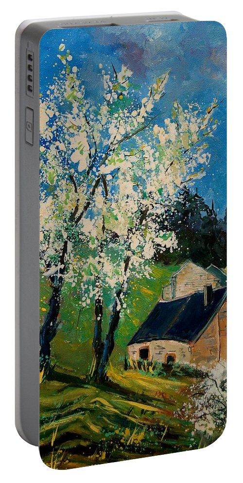 Spring Portable Battery Charger featuring the painting Spring In Hierges by Pol Ledent