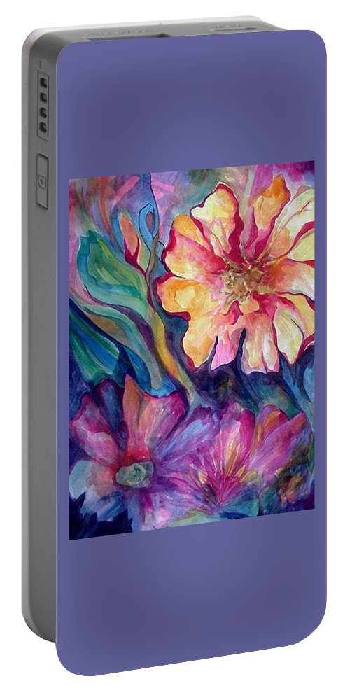 Spring Portable Battery Charger featuring the painting Spring In My heart by Carolyn LeGrand