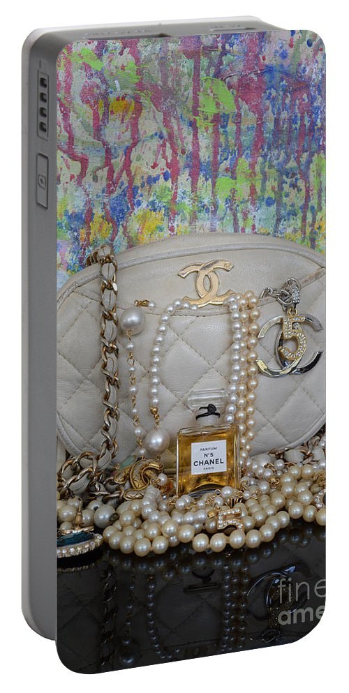 Chanel Portable Battery Charger featuring the mixed media Spring In Paris by To-Tam Gerwe