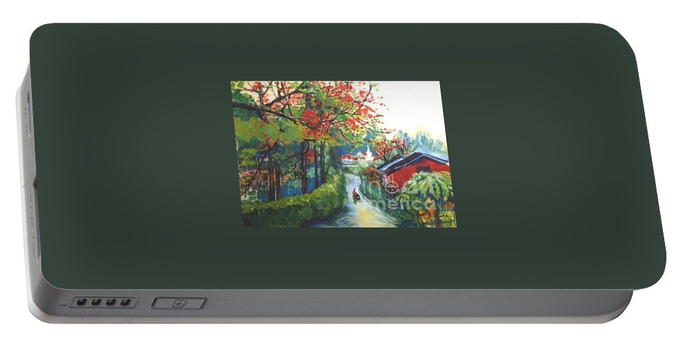 Spring Portable Battery Charger featuring the painting Spring In Southern China by Guanyu Shi