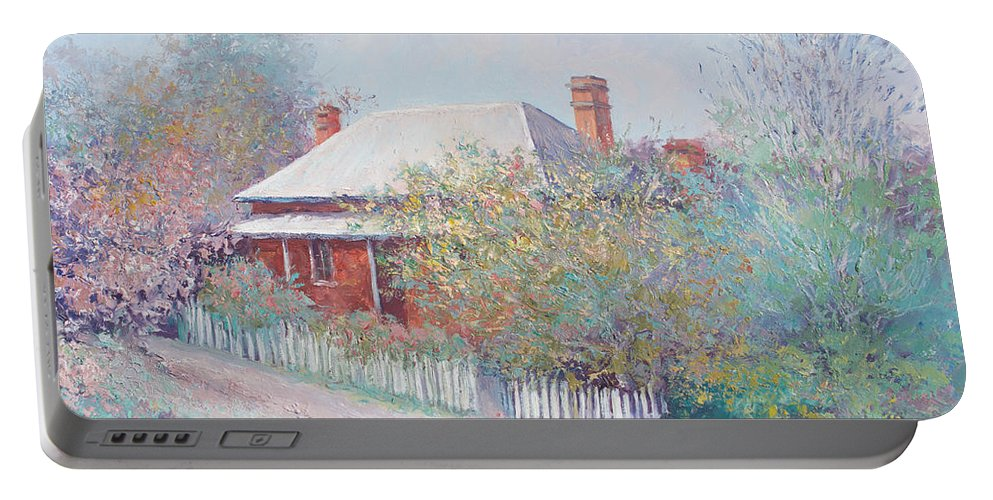 Landscape Paintings Portable Battery Charger featuring the painting Spring In The Country by Jan Matson