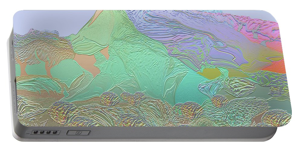 Abstract Portable Battery Charger featuring the digital art Spring In The Desert by Raymond Alvarez