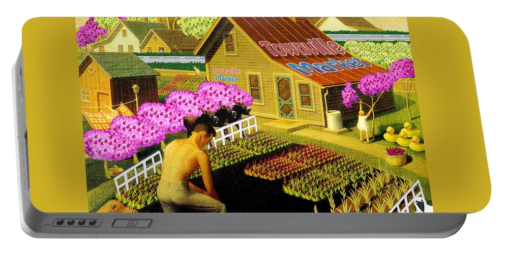 Farming Portable Battery Charger featuring the painting Spring In Townville by Gravityx9 Designs