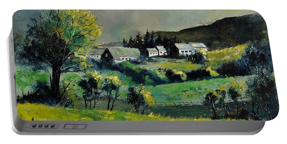 Landscape Portable Battery Charger featuring the painting Spring In Voneche by Pol Ledent