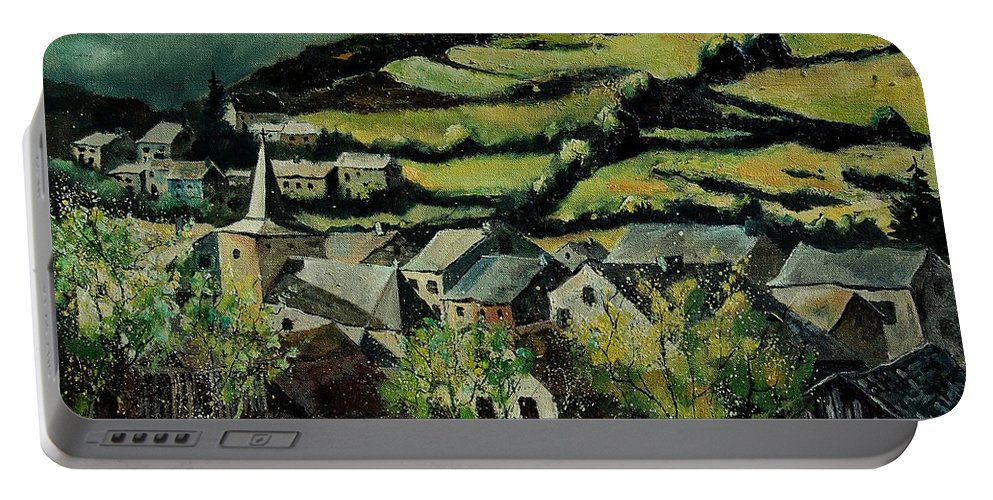 Spring Portable Battery Charger featuring the painting Spring In Vresse Ardennes Belgium by Pol Ledent