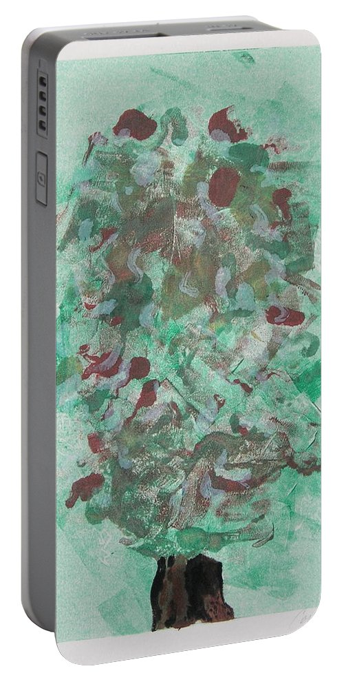 Monoprint Portable Battery Charger featuring the mixed media Spring Interlude by Cori Solomon