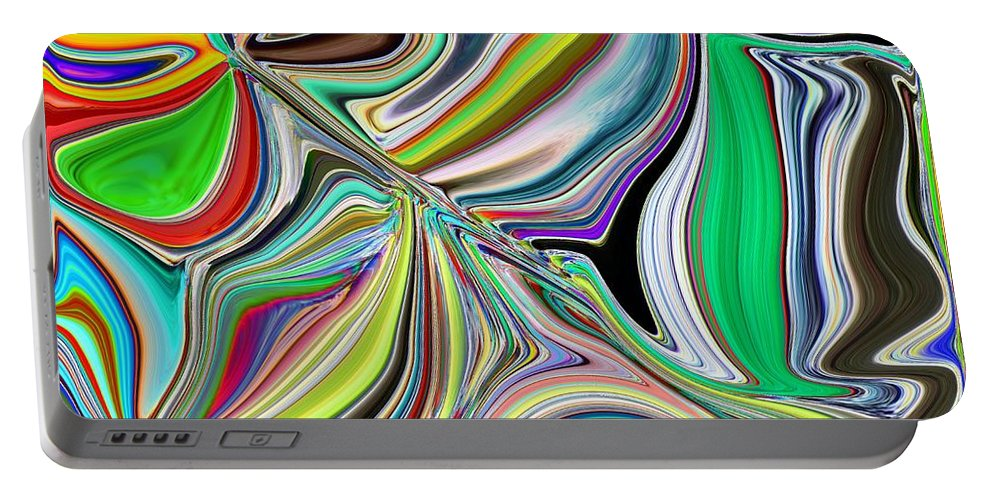 Abstract Portable Battery Charger featuring the digital art Spring Kaleidoscope by Tim Allen