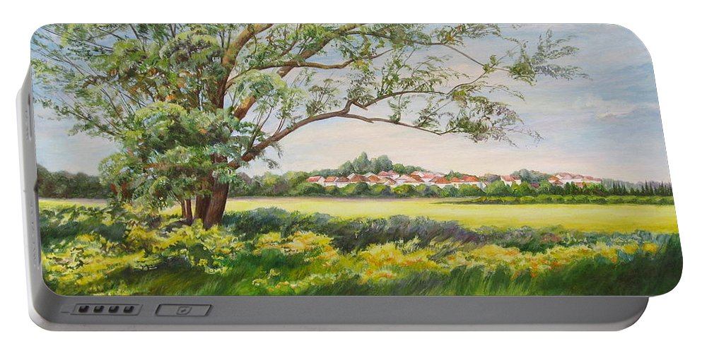 Landscape Portable Battery Charger featuring the painting Spring by Maya Bukhina
