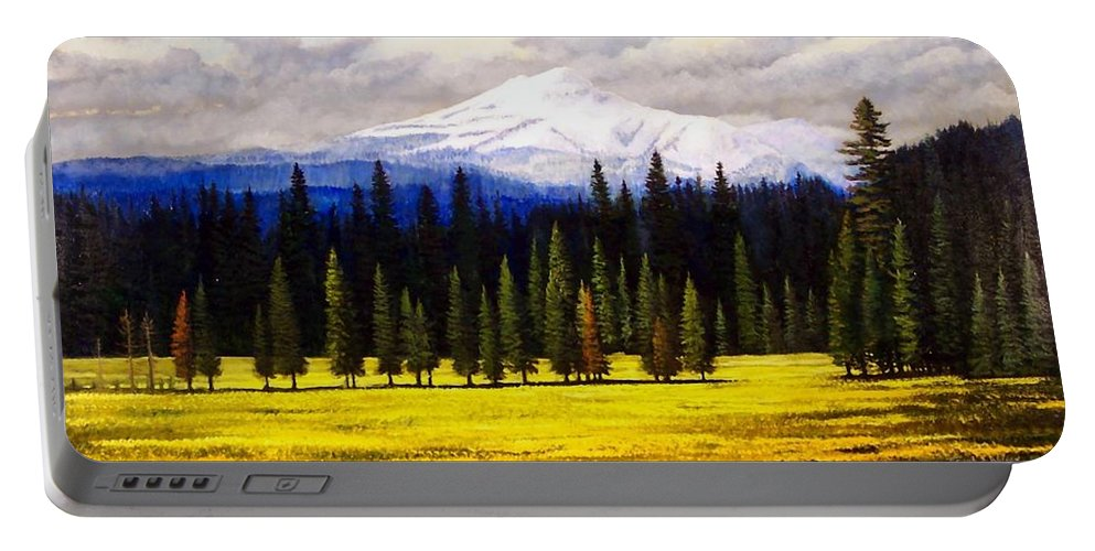 Landscape Portable Battery Charger featuring the painting Spring Meadow Mount Brokeoff by Frank Wilson