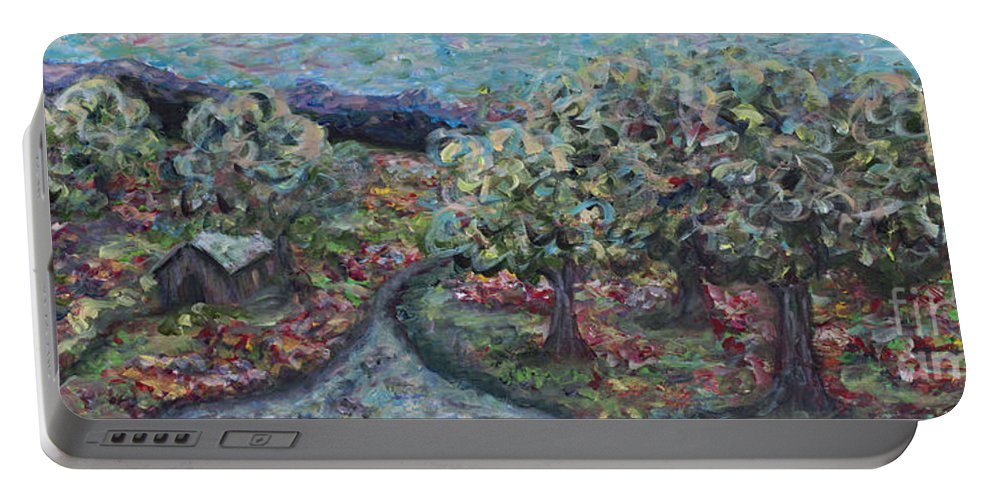 Mountains Portable Battery Charger featuring the painting Spring Mountain Flowers by Nadine Rippelmeyer
