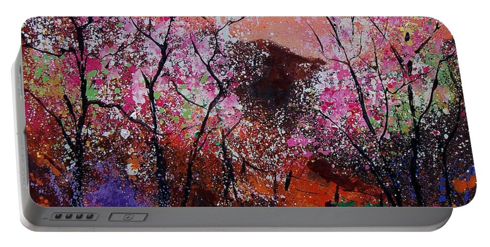 Spring Portable Battery Charger featuring the painting Spring near my home by Pol Ledent