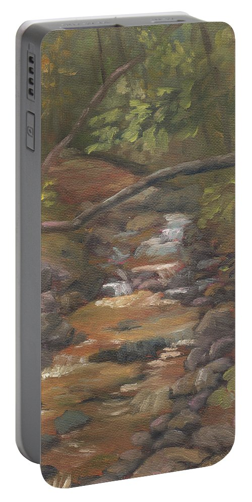 Waterfall Portable Battery Charger featuring the painting Spring on the Gale River by Sharon E Allen