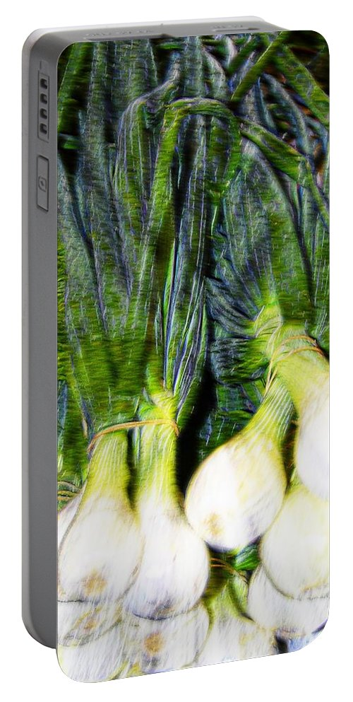 Onions Portable Battery Charger featuring the photograph Spring Onions by Bill Howard