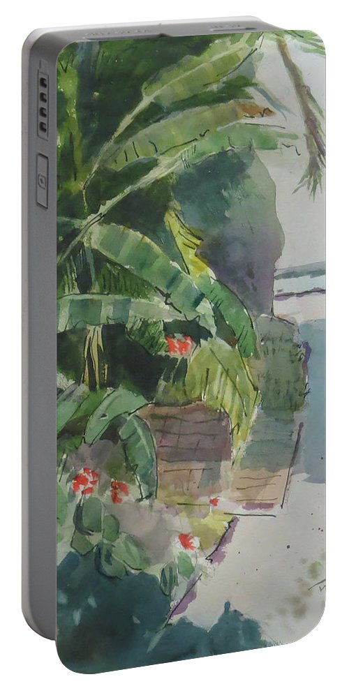 Green Portable Battery Charger featuring the painting Spring Palms by Thomas Tribby