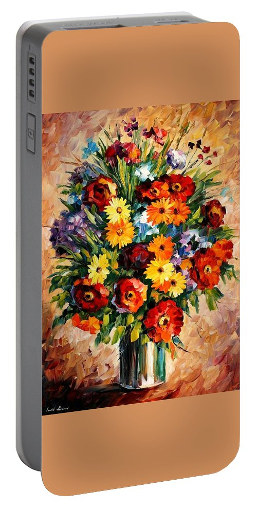 Afremov Portable Battery Charger featuring the painting Spring Passion by Leonid Afremov
