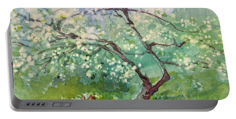 Plum Tree Portable Battery Charger featuring the painting Spring Plum by Elizabeth Carr
