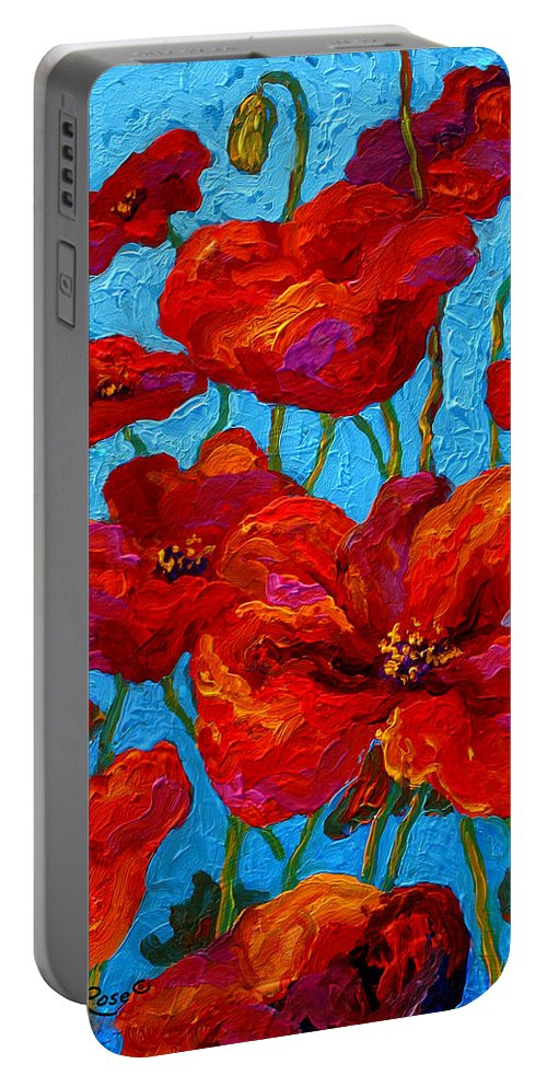 Poppies Portable Battery Charger featuring the painting Spring Poppies by Marion Rose
