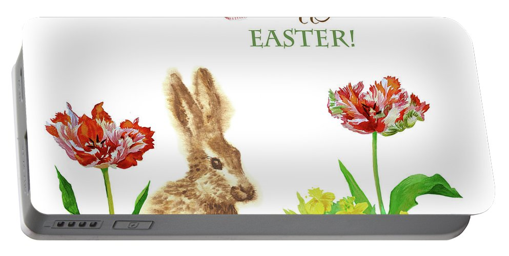 Easter Portable Battery Charger featuring the digital art Spring Rabbit And Flowers by Natalia Piacheva