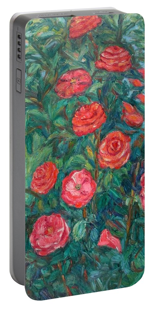 Rose Portable Battery Charger featuring the painting Spring Roses by Kendall Kessler