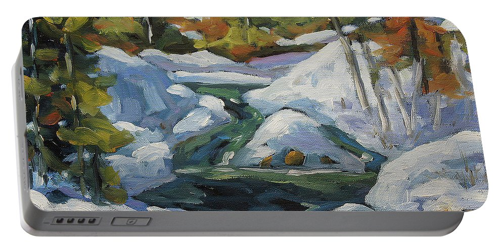 Landscape Scene Portable Battery Charger featuring the painting Spring Run Off by Richard T Pranke