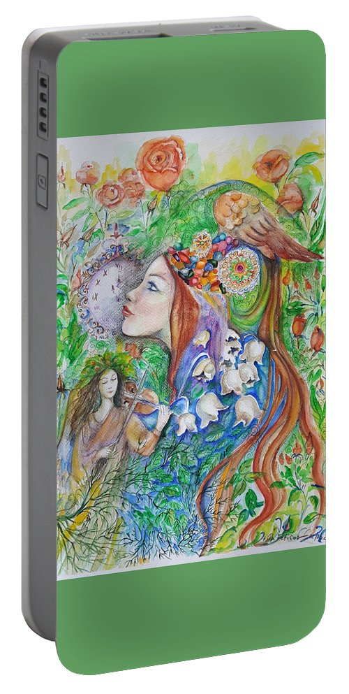 Lilies Of The Valley Portable Battery Charger featuring the mixed media Spring Song by Rita Fetisov