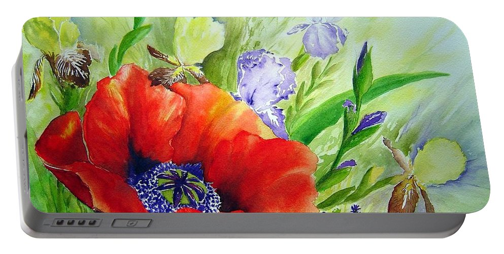 Poppy Iris Floral Painting Portable Battery Charger featuring the painting Spring Splendor by Joanne Smoley