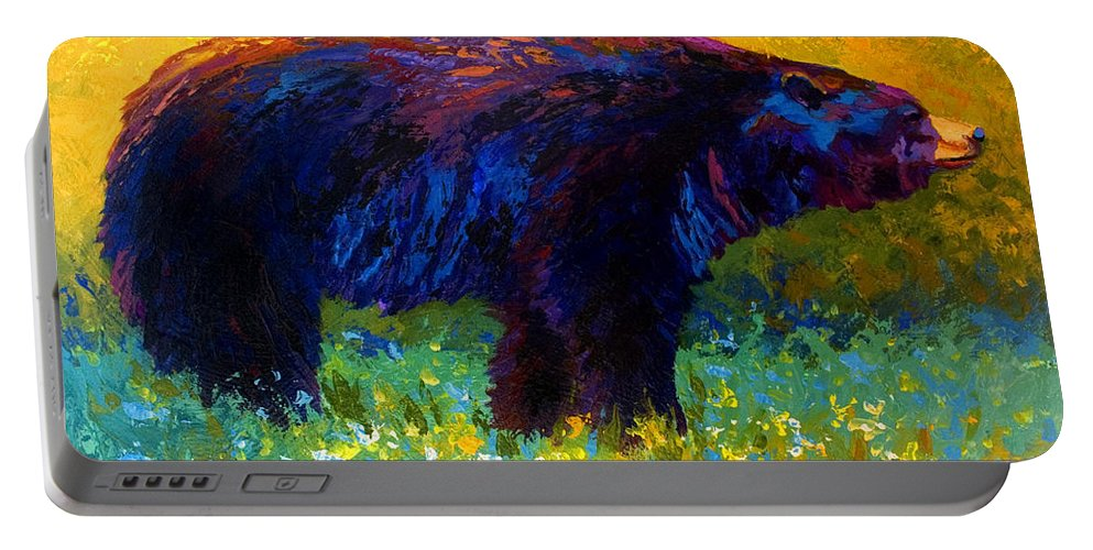 Bear Portable Battery Charger featuring the painting Spring Stroll - Black Bear by Marion Rose
