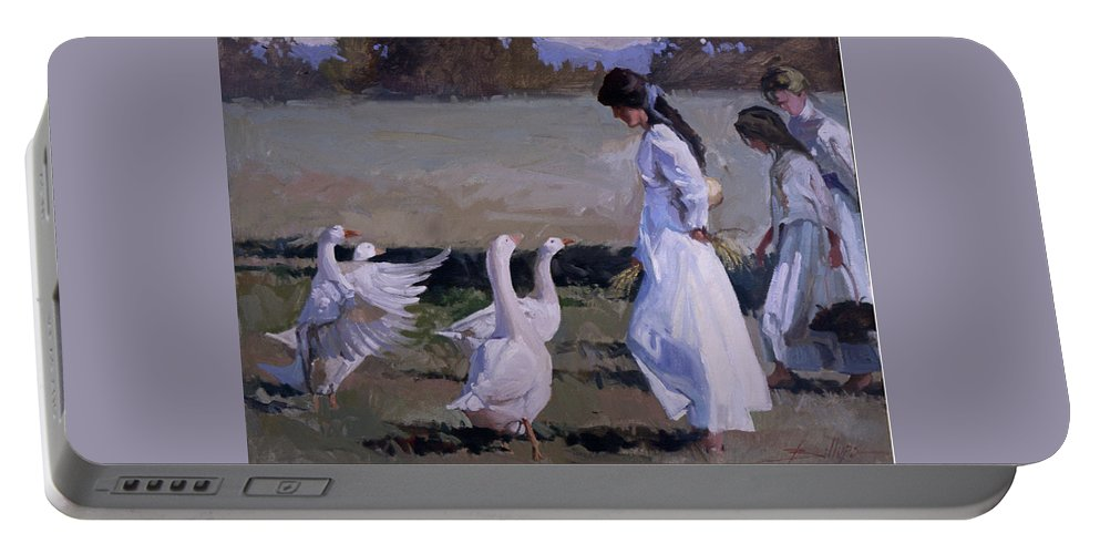 Women In White Portable Battery Charger featuring the painting Spring Temptress by Betty Jean Billups