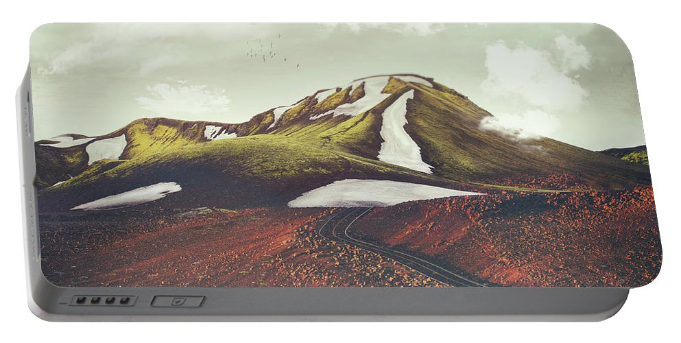 Landscape Spring Winter Dreamscape Hills Mountains Portable Battery Charger featuring the digital art Spring Thaw by Katherine Smit