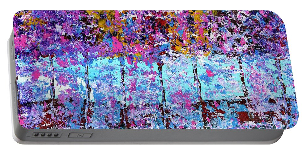 Trees Portable Battery Charger featuring the painting Spring Time In The Woods Abstract Oil Painting by Saundra Myles