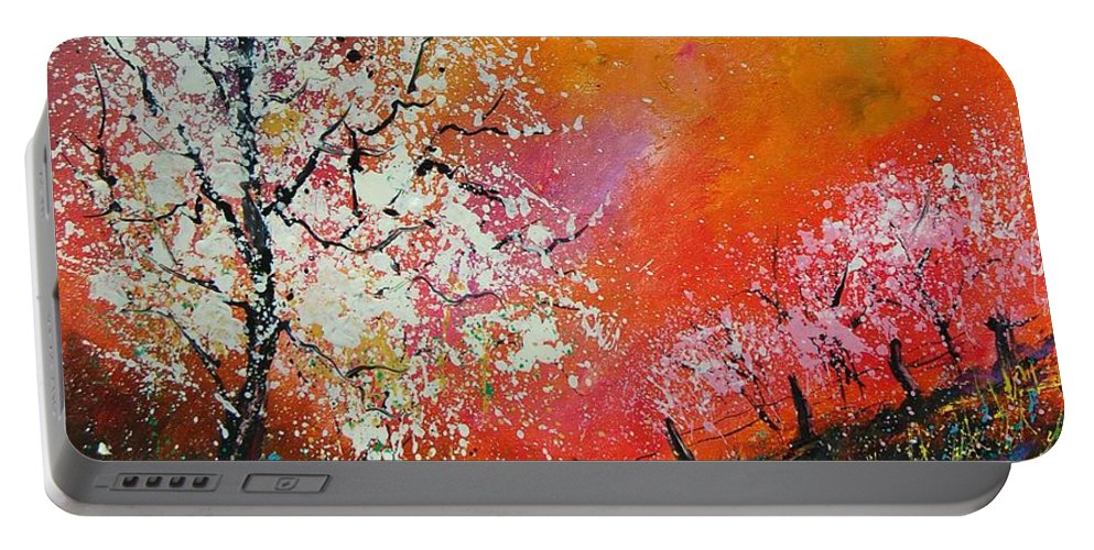 Spring Portable Battery Charger featuring the painting Spring Today by Pol Ledent
