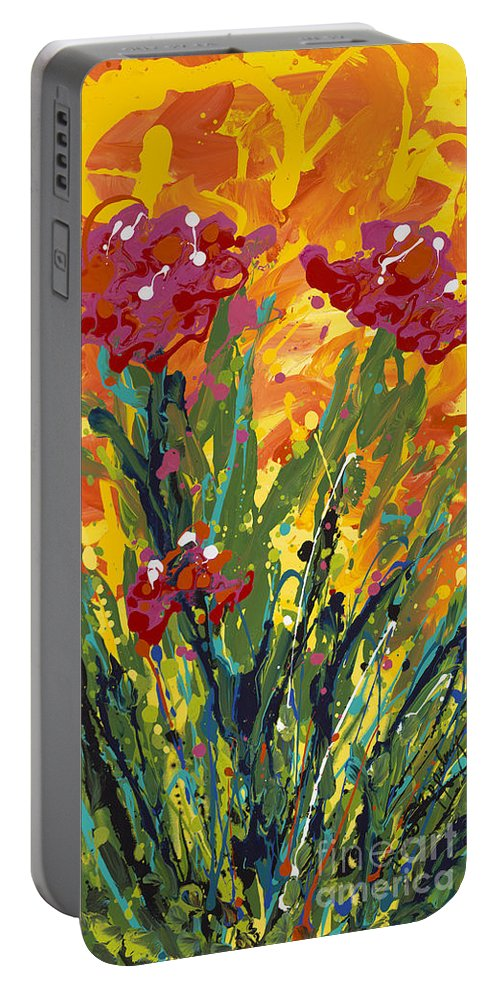 Spring Portable Battery Charger featuring the painting Spring Tulips Triptych Panel 1 by Nadine Rippelmeyer
