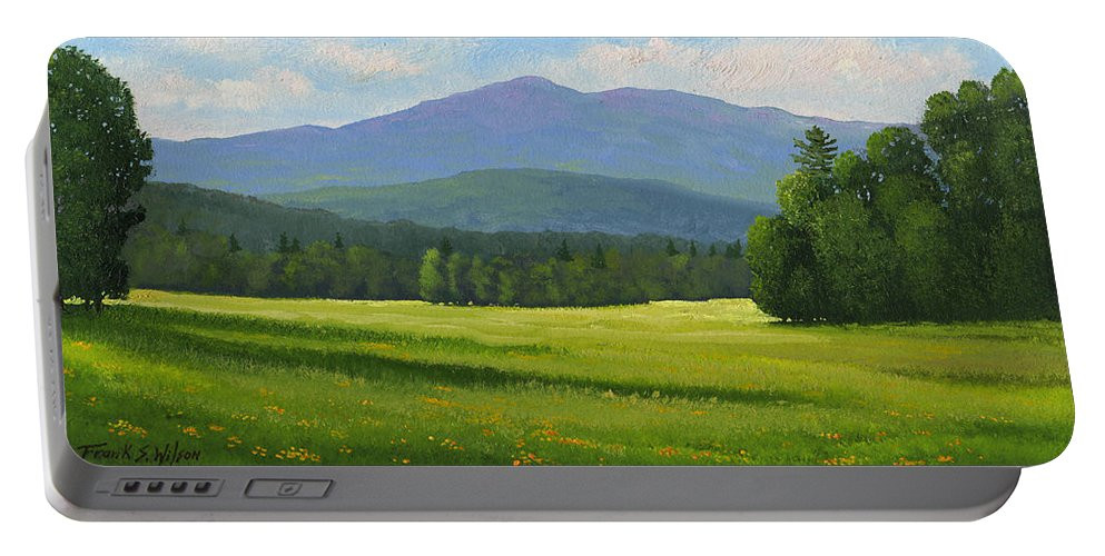 Landscape Portable Battery Charger featuring the painting Spring Vista by Frank Wilson